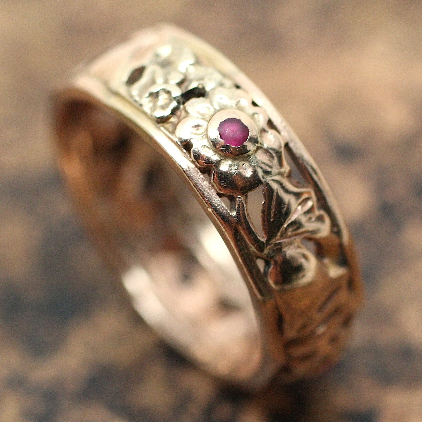 Circa 1930 14K Rose Gold & Ruby Band with Wedding Bells!