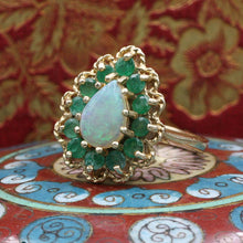 Vintage Opal with Emerald Halo Ring