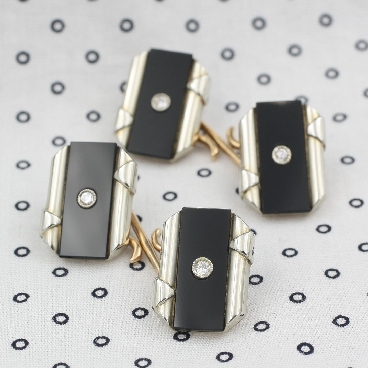 Deco Onyx and Diamond Cufflinks