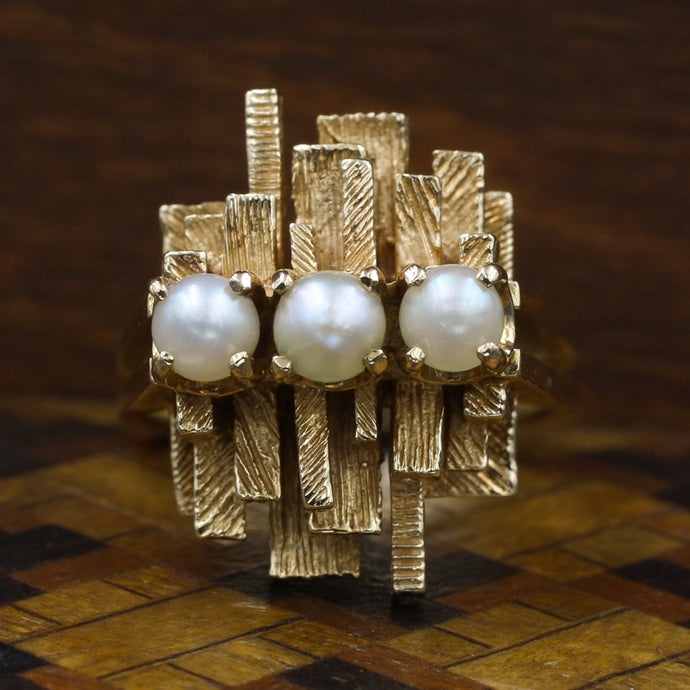 Brutalist Pearl Ring by Birks c1970
