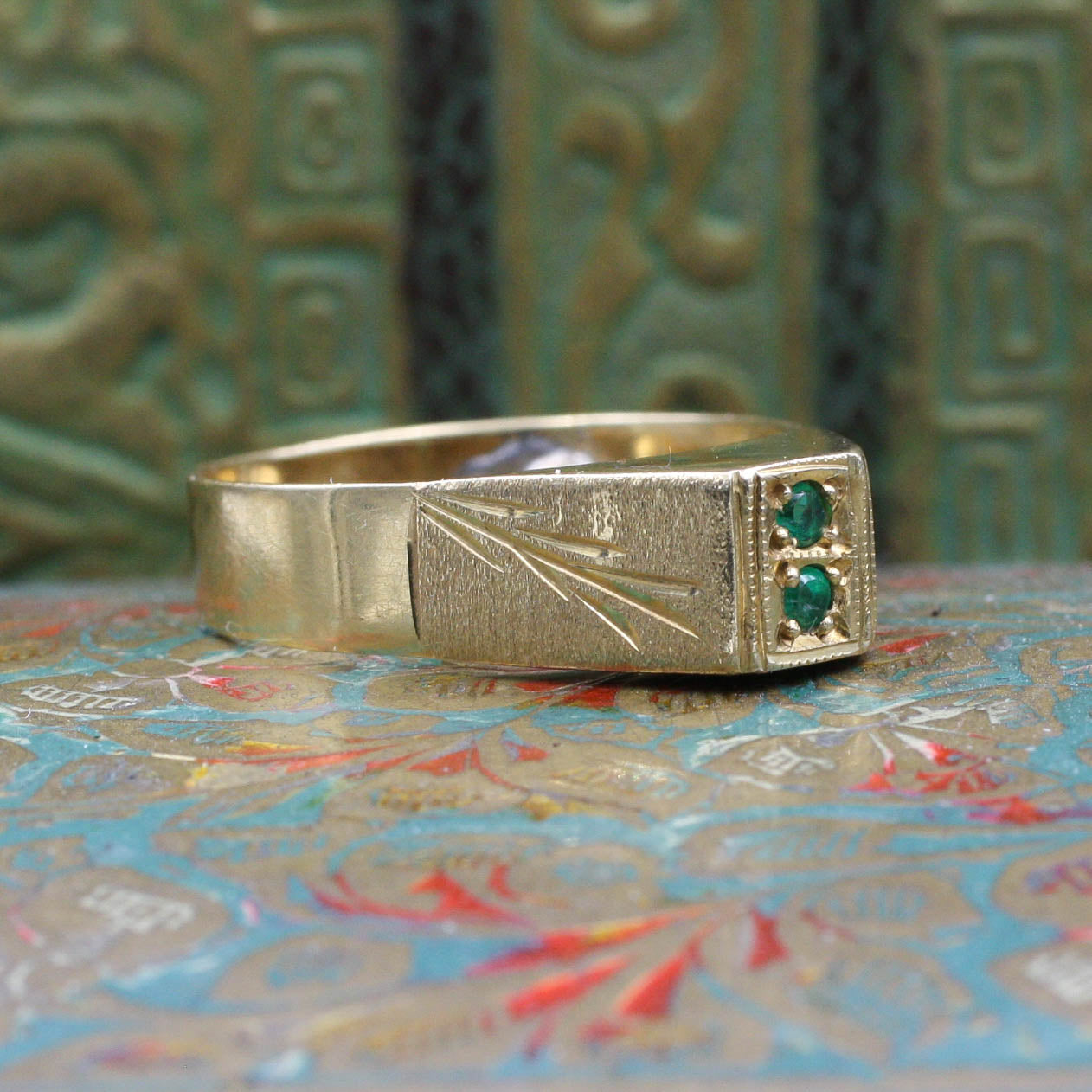 High Profile Emerald Ring