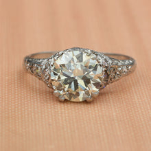 Handmade Platinum 2 Carat Diamond Ring c1920