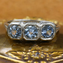 Three Aquamarines Filigree Ring c1920