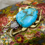 c1890 Sleeping Beauty Turquoise Scarab Brooch