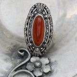 c1930 Sterling Marcasite and Carnelian Statement Ring