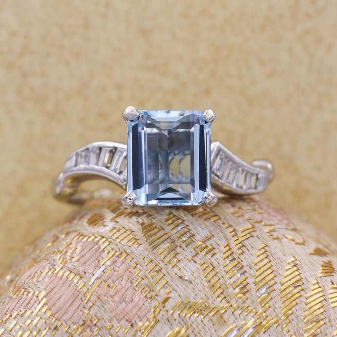 Midcentury Aquamarine and Baguette Diamond Ring