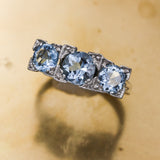 c1920 Handmade Platinum Aquamarine Three Stone Ring