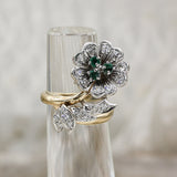 1930s-50s Emerald and Diamond Flower Ring