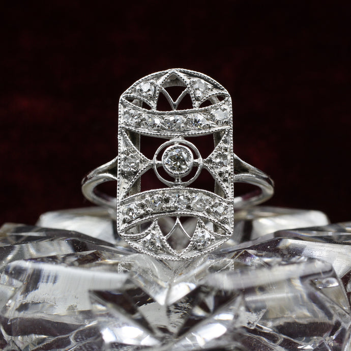Flush Filigree Platinum and Diamond Ring c1890