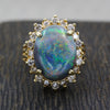 Vintage Australian Black Opal and Diamond Ring