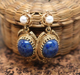 C.1950 14K Gold & Sodalite Pierced Earrings