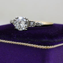 c1930 14k Two-tone .80ct Transitional Cut Diamond Ring