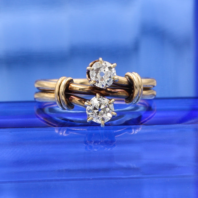 Old Mine Cut Diamond Moi et Toi Ring c1880