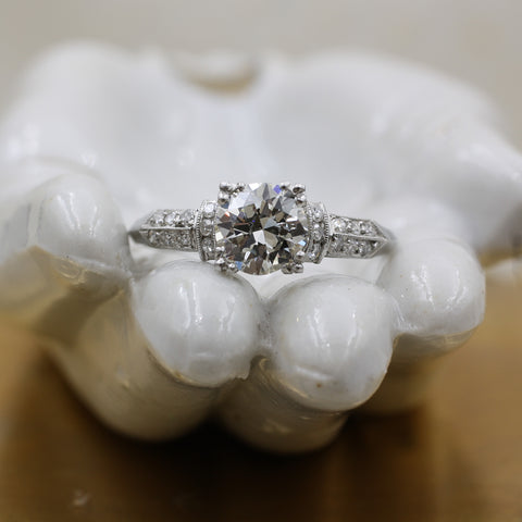 1920s Handmade Platinum .99ct EGL Certified Diamond Ring