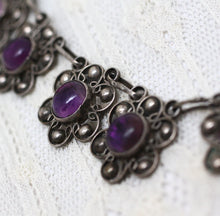 Circa 1940 Sterling & Amethyst Taxco Mexico Necklace