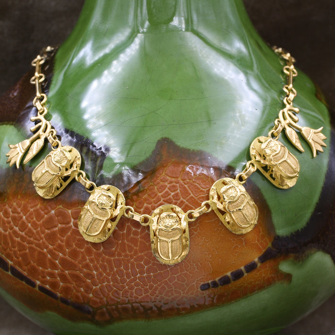 Egyptian 18k Scarab Necklace, 1960s