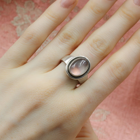 Midcentury Georg Jensen Star Rose Quartz Ring