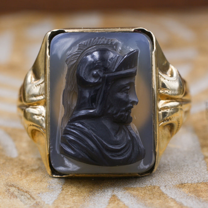 Black Agate Warrior Cameo Ring c1880