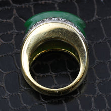 Jade and Diamond Gold Statement Ring c1970