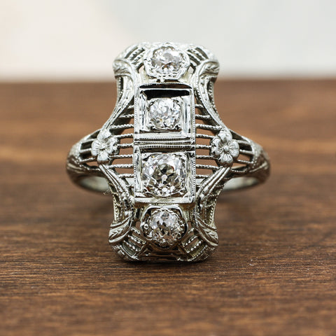 c1900 Art Nouveau Old Mine Cut Diamond Dinner Ring
