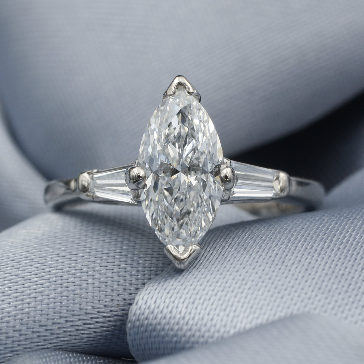 1.45 Carat Marquise Cut Diamond Ring c1950
