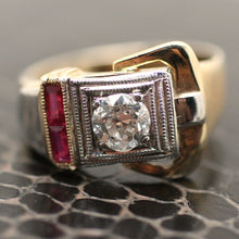 Circa 1930 Deco Ruby Diamond Buckle Ring