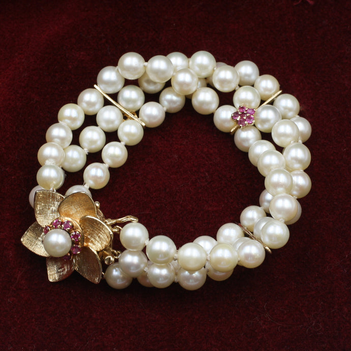 Pearl Bracelet with Ruby and Gold Flowers c1980