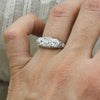 c1900 Old European Cut Diamond Three Stone Platinum Ring