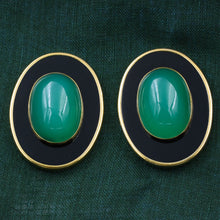 1980s Green and Black Onyx Earrings