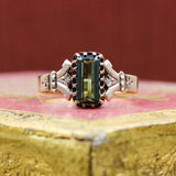 c1880 Green Tourmaline Rose Gold Ring