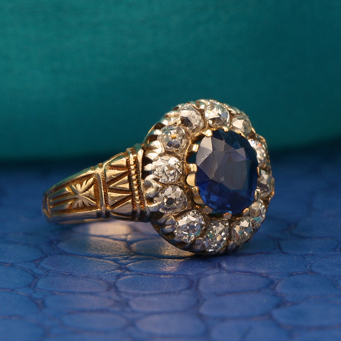 Bailey Banks and Biddle Burmese Sapphire Ring c1880