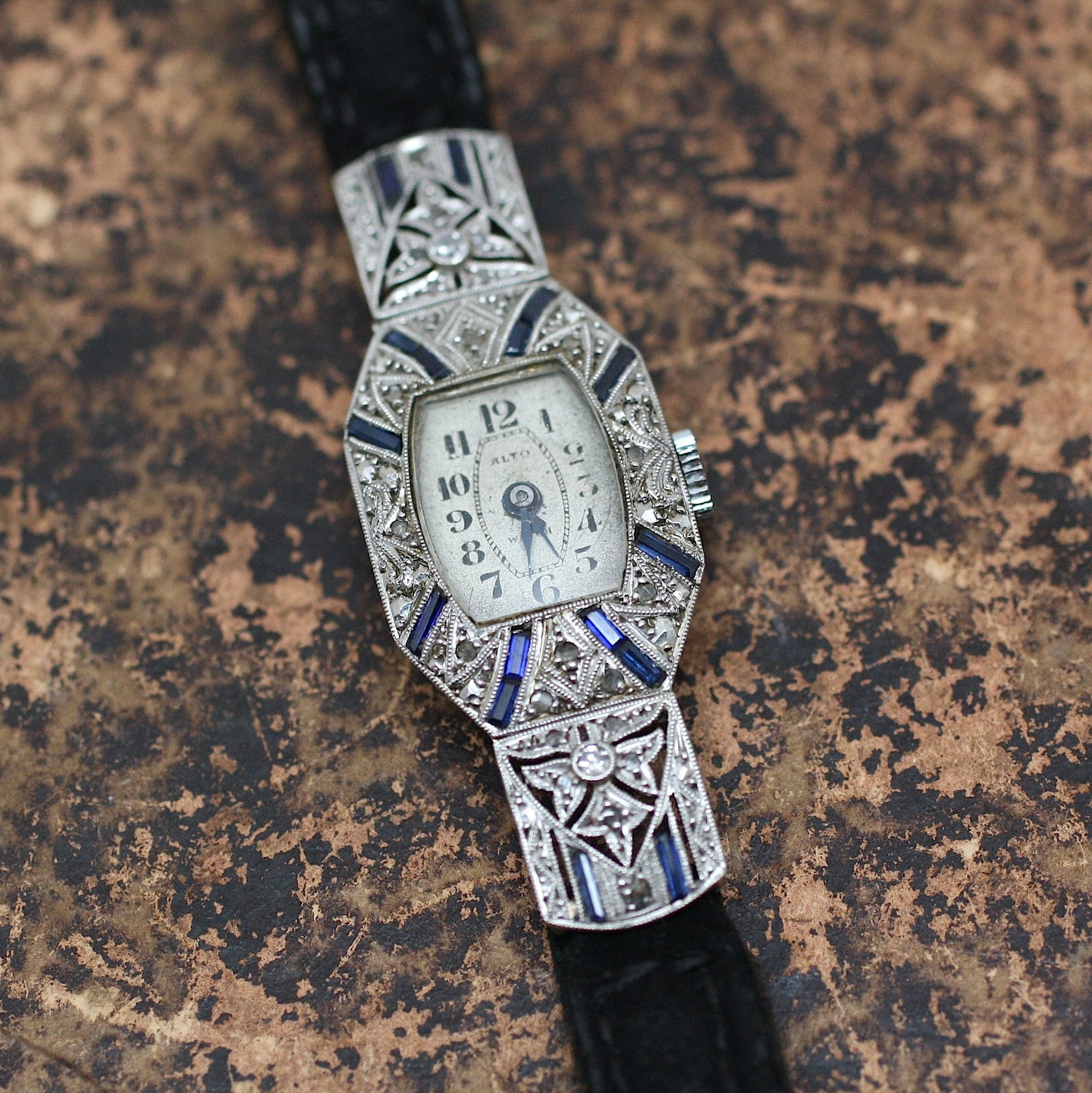 Circa 1920 18K, Diamond & Synth. Sapphire Watch