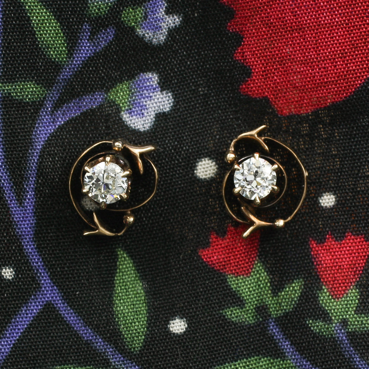 Art Nouveau Diamond Studs c1890