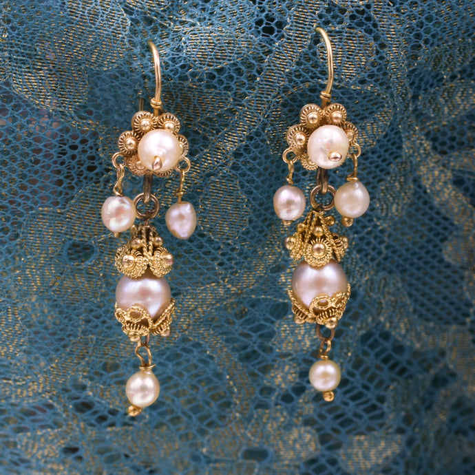 Georgian Natural Pearl Cannetille Earrings