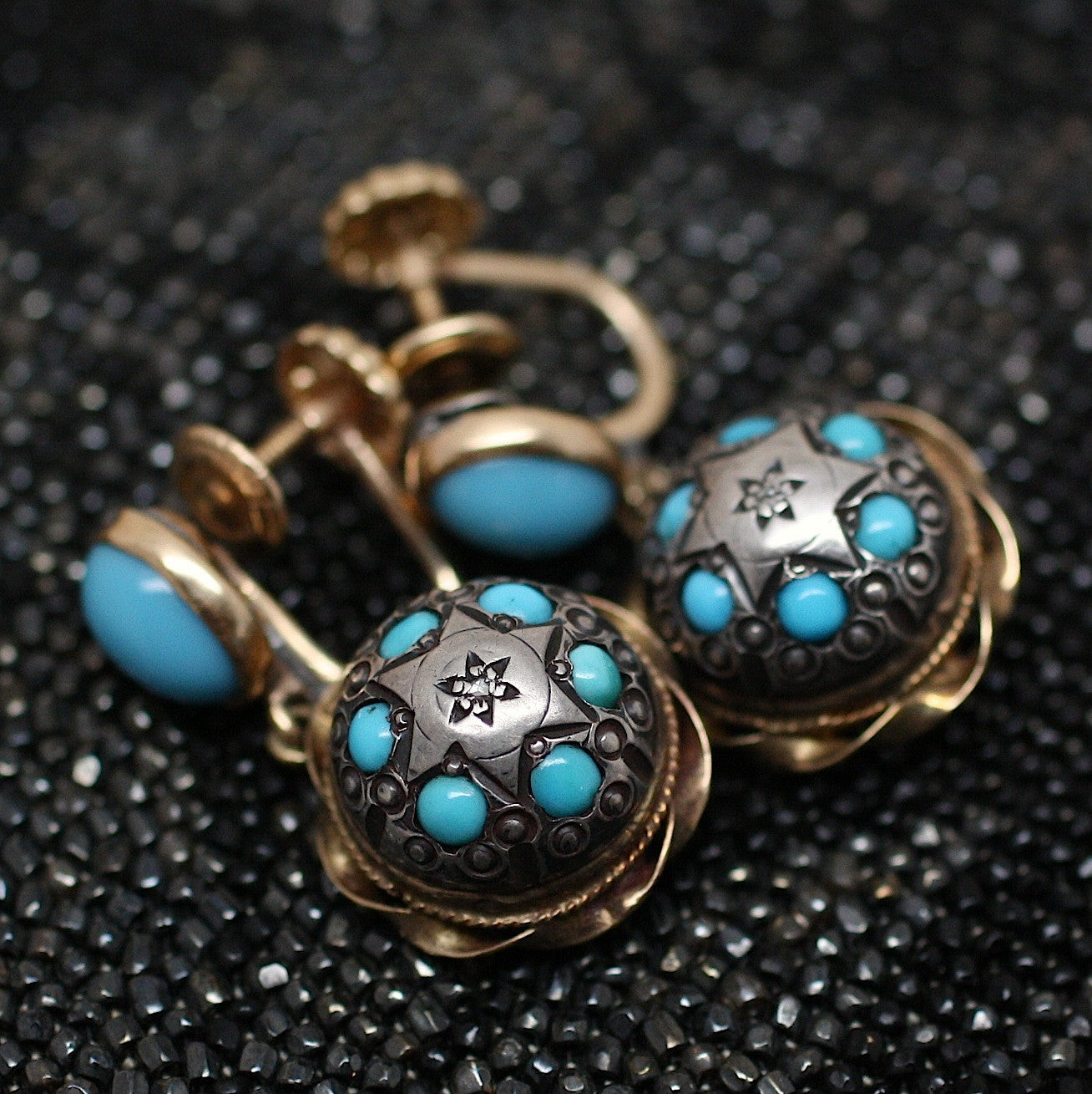 Circa 1850 18K & Silver Persian Turquoise Earrings