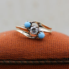 c1930 Transitional Cut Diamond and Persian Turquoise Ring