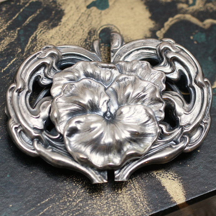 Circa 1890 Art Nouveau Sterling Silver Buckle