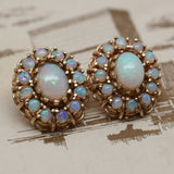 Circa 1930s - 1950s 14K Opal Earrings