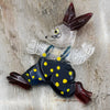 Late 1940s Reverse Carved Lucite Bunny Brooch