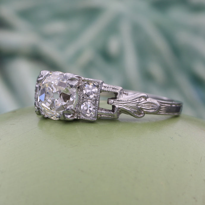 1.25 Carat Old Mine Diamond Deco Ring
