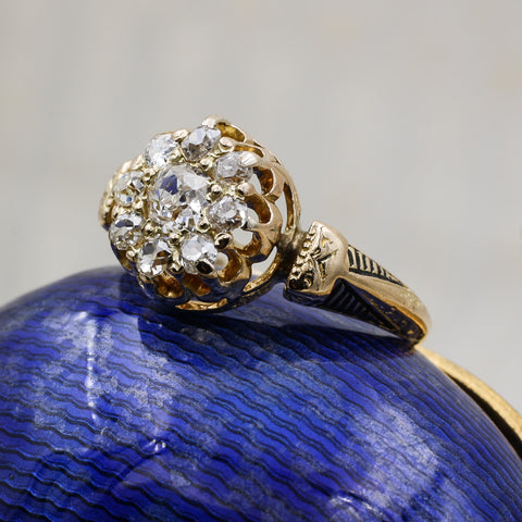 c1880 Old Mine Diamond Taille d'Epargne Ring