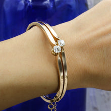 c1880 Toi et Moi Old Mine Cut Diamond Rose Gold Bangle