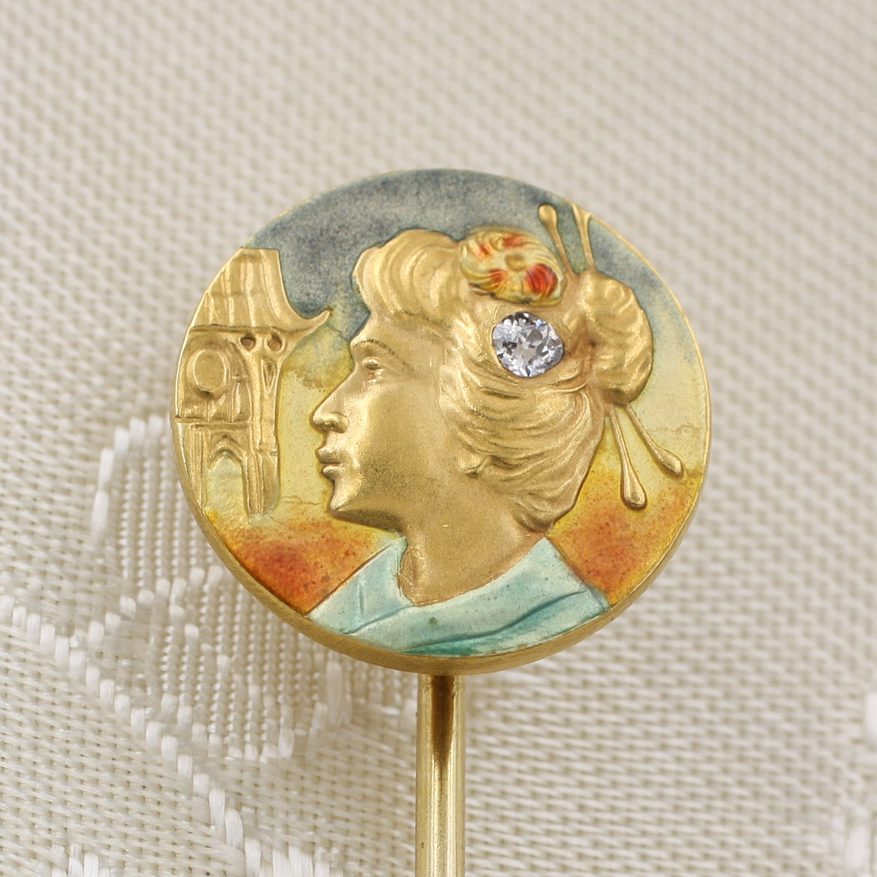 Art Nouveau Geisha Stick Pin c1900