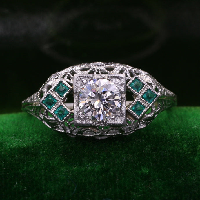 Deco Diamond Filigree Ring with Emeralds c1935