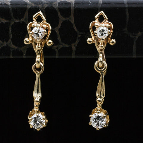 c1930 Dainty Diamond Dangle Earrings