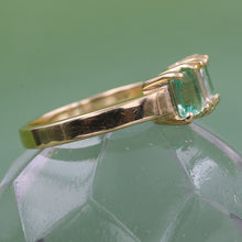 Emerald Cut Diamond and Russian Emerald Ring