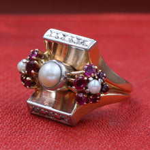 Retro Pearl and Ruby Flowers Ring c1940