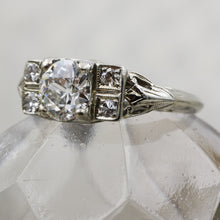 1920s 18k .90ct Transitional Cut Diamond Deco Ring