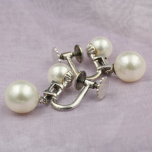Midcentury Pearl and Baguette Diamond Drop Earrings