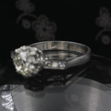 1.55 Carat Old Mine Diamond and Channel Shoulders Ring